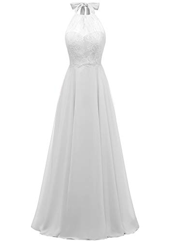 (Women's Halter Lace Wedding Dress A-line Long Chiffon Beach Wedding Gown White,8)