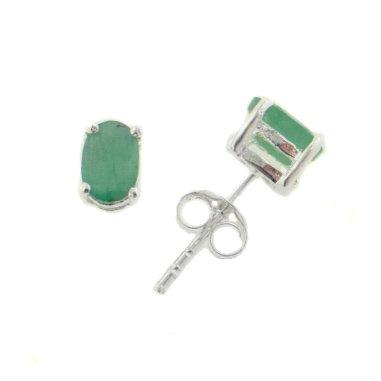 Silver Genuine Earrings Emerald (4x6mm Oval Genuine Green Emerald Sterling Silver Post Stud Earrings)