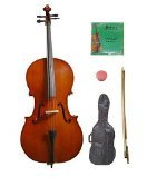 GRACE 4/4 Size Natural Cello with Bag and Bow+Rosin+Extra Set of Strings by Grace