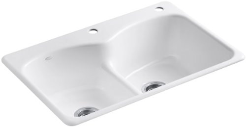 - KOHLER K-6626-2-0 Langlade Smart Divide Self-Rimming Kitchen Sink, White