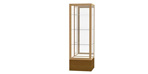 Waddell 4024MB-GD-AK Keepsake 24 x 72 x 24 in. Autumn Oak Floor Display Case with Veneer Base44; Mirror Back - Champagne Gold