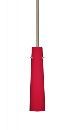 - Besa Lighting 1TT-5674RM-SN 1X50W E12 Camino Pendant with Ruby Matte Glass, Satin Nickel Finish