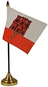 Flagmania® 12 Stück Gibraltar (15,2 x 10,2 cm) Tischflaggen & Goldfarbene Kunststoffkegel + 59 mm Button Badge