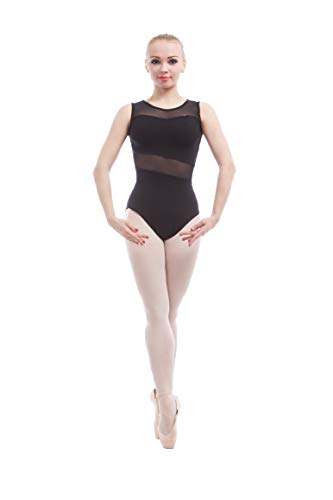 Dance Favourite Ballet Leotards For Women Tank Sleeve Cotton with Mesh Ballet Dancewear Adult Dance Practice Clothes Gymnastics Leotards A1B014 (M)
