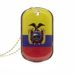 Ecuador Country Flag Dog Tag Metal Necklace with 14 Inch Chain ... New
