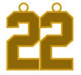 Number 22 Jersey Style Sports Necklace Charm Pendant #22 (0.8'' Tall - Standard Size) GOLD PLATED Perfect For: Football, Baseball, Basketball, Soccer, Hockey, Softball, Volleyball, Lacrosse & More