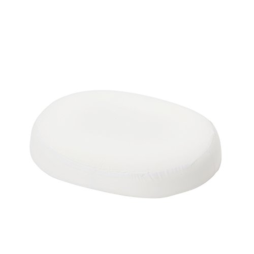 DMI Molded Foam Ring Donut Seat Cushion Comfort Pillow with Cover, 18 x 15 x 3 inches, White (Foam Hard Molded)