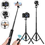 Selfie Stick Tripod,54 Inch Extendable Camera Tripod for Cellphone,Bluetooth Remote for Apple