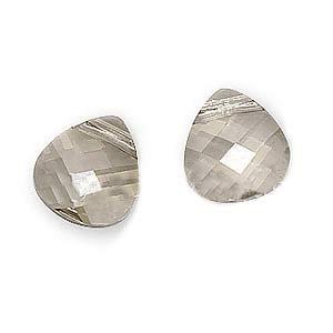 Swarovski Crystal, 6012 Briolette Pendants 11x10mm, 2 Pieces, Crystal Silver ()