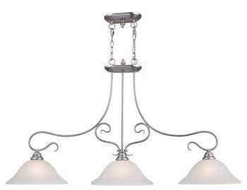 Livex Lighting 6108-91 Island Pendant with White Alabaster Glass Shades, Brushed Nickel