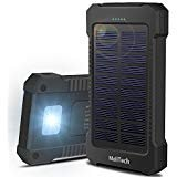 MeliTech Portable Solar Charger Waterproof Mobile Power Bank 20000mAh External Backup Battery Dual USB 5V 1A/2A Output With LED Flashlight and Compass For Phones Tablet Camera iPhone Samsung (Black)