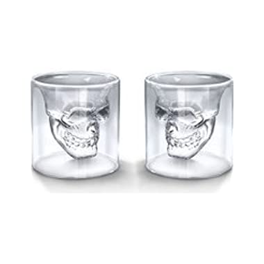 Creative Skull Design Crystal Transparent Glass Cup 5.2 Ounces , Set of 2