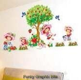 STRAWBERRY SHORTCAKE LARGE BEDROOM WALL STICKERS KIDS ROOM DECORATION STRAWBERRY -