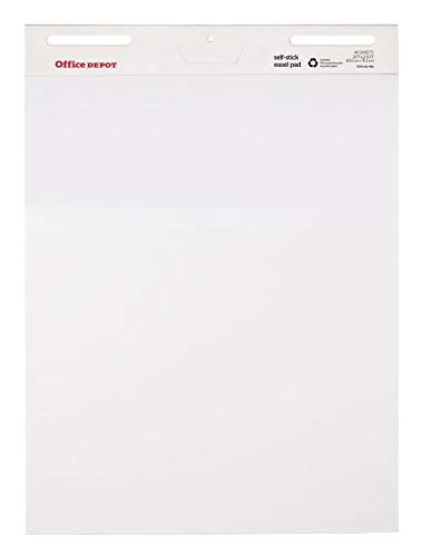 Office Depot Brand Bleed Resistant Self-Stick Easel Pads, 25'' x 30'', 40 Sheets, 30% Recycled, White, Pack of 2
