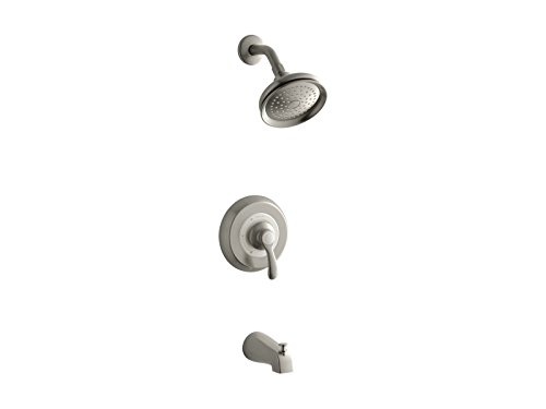 Kohler TS12007-4E-BN K-TS12007-4E-BN Fairfax Rite-Temp Bath and Shower Valve Trim with Lever Handle, NPT spout and 2.0 gpm showerhead Vibrant Brushed Nickel