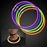 ThinkMax 50 pcs 22'' Glow Stick Necklaces-Assorted Colors Party Favors Supplies (Tube of 50) (22' Stick Necklaces Glow)