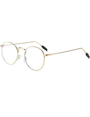 Sirain Blue Light Blocking Round Frame Retro Glasses Stylish Lightweight Glasses UV400 Transparent Lens(non prescription) ()