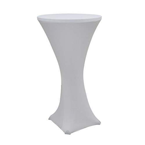 Round Elastic Table Cloth Tablecover for Cocktail Bar Wedding Party White