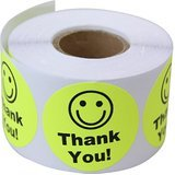 "Smart Yellow -Thank You Circle Smile Smiley Face 1.5"" Round Circle Mailing Labels Stickers - 1 Roll / 500 Labels Per Roll"