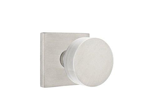 - Emtek Passage, Square Rosette, Round Knob, Brushed Stainless Steel, LH