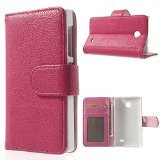 Rose Litchi Leather Skin Flip Card Holder Cover Stand for Nokia X A110 Dual SIM / X plus Dual SIM