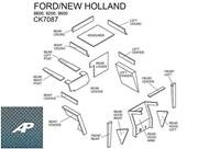 Ford/New Holland Lower Cab Kit with Headliner and Post - Blue (Post Headliner)