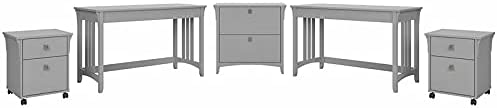 Bush Salinas 2 Person Desk Set with File Cabinets in Cape Cod Gray - Engineered Wood