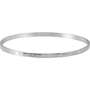 3.25 Mm Hammered Band - Jambs Jewelry Sterling Silver 3.25 mm Hammered Bangle Bracelet