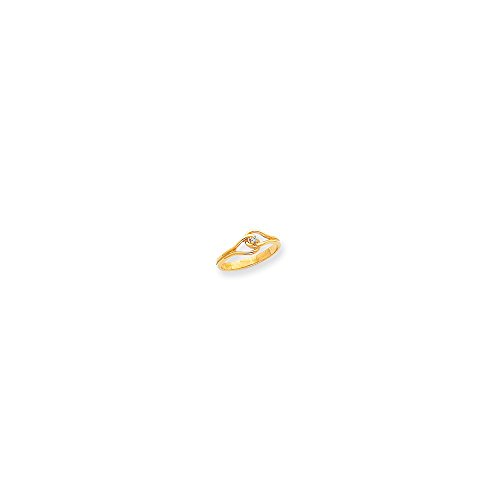 14k Polished .02ct. Diamond Fancy Ring Mounting - Base Only, No (Diamond Fancy Ring Mounting)