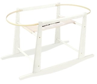 - Jolly Jumper Rocking Wooden Moses Basket Stand, Antique White