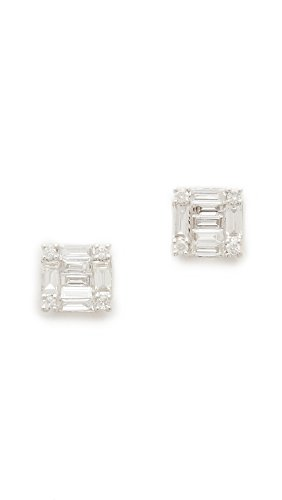 Shay Women's 18k White Gold Square Stacked Baguette Stud Earrings, White Gold/White Diamonds, One ()