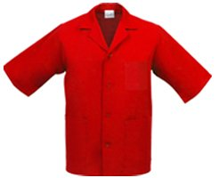 Unisex Smock, Medium, Red, 2 Pockets, 4 Matching Buttons, Poly-Cotton, K71 ()