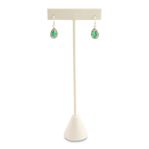 Select Jewelry Displays 12pcs White Faux Leather T-Bar Earring Stand 6-3/4