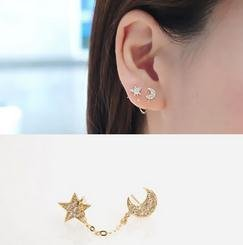 Price comparison product image GigaMax(TM) Moon And Stars Over ing Chain Earrings Monaural Two-Hole Ear Clip Single Piece