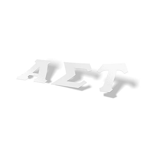 Alpha Sigma Tau Sorority White Letter Sticker Decal Greek 2 Inches Tall for Window Laptop Computer Car AST
