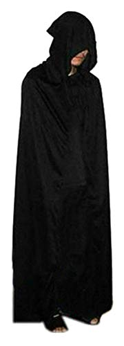 SUKRAGRAHA Halloween Cosplay Adult Death Grim Reaper Pagan Robe Cloak Black 70 inch]()