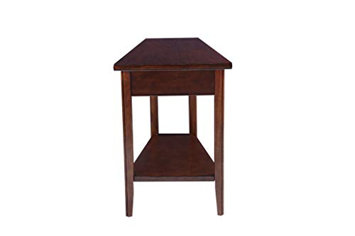 (Phoenix Home Tilburg Chair-Side Solid-Wood Wedge-Shaped End Table with Bottom Shelf, Caramel Latte)