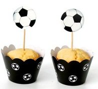 Soccer Cupcake Kit Soccer Football Cupcake Wrappers and Toppers Birthday Party Decoration (12 Sets) -