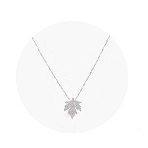 MIXIA Fashionable Creative Natural Leaves Hemp Maple Leaf Pendant Necklace with Collarbone Chain (Silver)