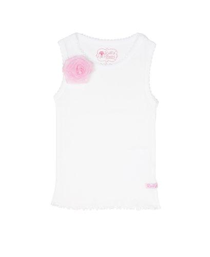 RuffleButts Baby/Toddler Girls Girl White Tank Top w/Pink Organza Flower - ()