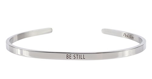 3mm Cuff (Pink Box 3mm Solid Stainless Steel Cuff Bracelet - Be Still)