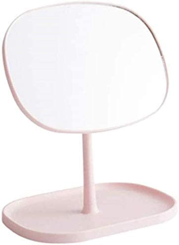GCX- 化粧小型ミラープリンセスミラーを回転タブレットデスクトップバニティミラー寮で創造的なメイクアップミラーデスクトップ ファッション (Color : Pink)
