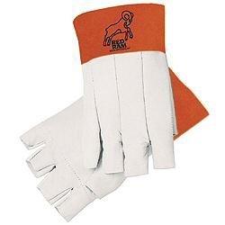 MCR Safety 4810 Red Ram Grain Goatskin Bundlers Fingerless Gloves with Clute Pattern, Size-10 ()
