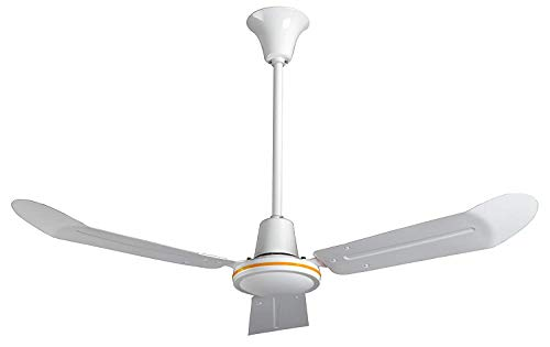 VES Commercial Ceiling Fan, 3 Speed, 18 Inch Downrod, 120v, White (48 Inch)