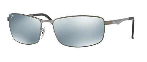 Ray-Ban RB3498 029/Y4 61M Matte Gunmetal/Green Silver Mirror Polarized Sunglasses For Men