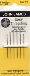 John James Easy Threading Hand Needles-Size 4/8 6/Pkg by Colonial Needle John James Easy Threading Needles