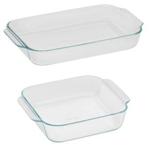Pyrex Basics Clear Glass Baking Dishes - 2 Piece Value-Plus Pack - 1 Each: 3 Quart Oblong, 2 Quart Square by Pyrex