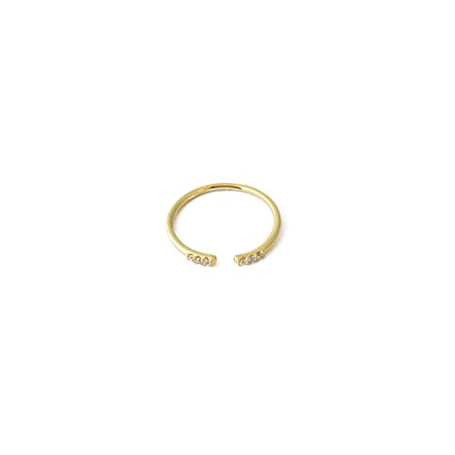 HONEYCAT Adjustable Open Ring with Crystal Ends in 24k Gold Plate, 18k Rose Gold Plate, or Silver | Minimalist, Delicate Jewelry (Gold)