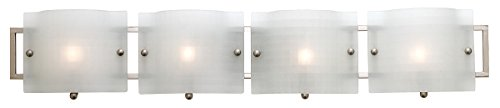 Access Lighting 53314-BS/CKF Nara 4-Light ADA Wall/Vanity Fixture, Brushed Steel Finish with Checkered Frosted Glass Shades by Access Lighting