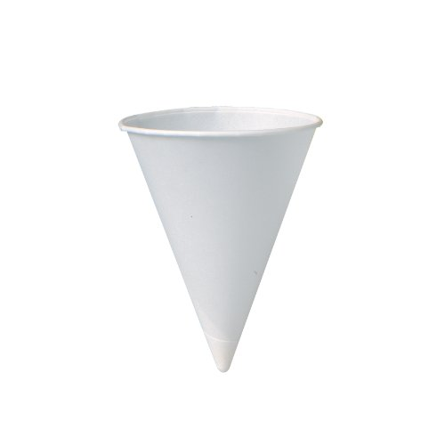 SOLO 5R-2050 Bare Eco-Forward Treated Paper Cone Water Cup, 5 oz Capacity, White, Chipboard Box (25 Packs of 200) by Solo Foodservice